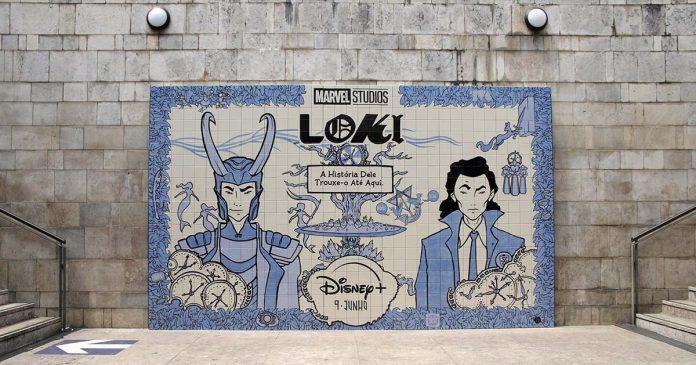 Loki em painel de azulejo português