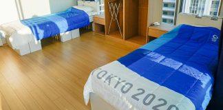 Jogos Olímpicos com camas de cartão