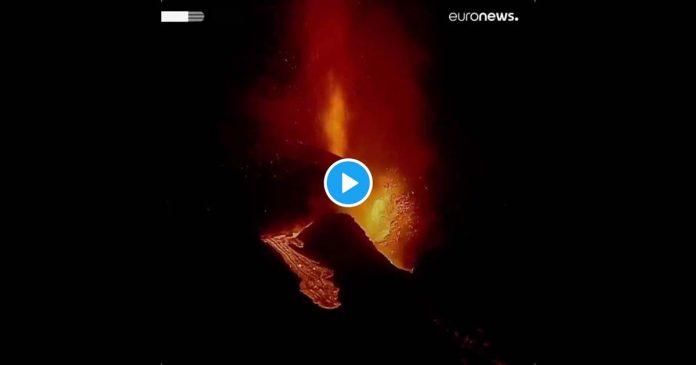 Vulcão em La Palma e lava